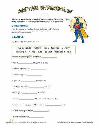 Examples of Hyperbole | Worksheets and Articles