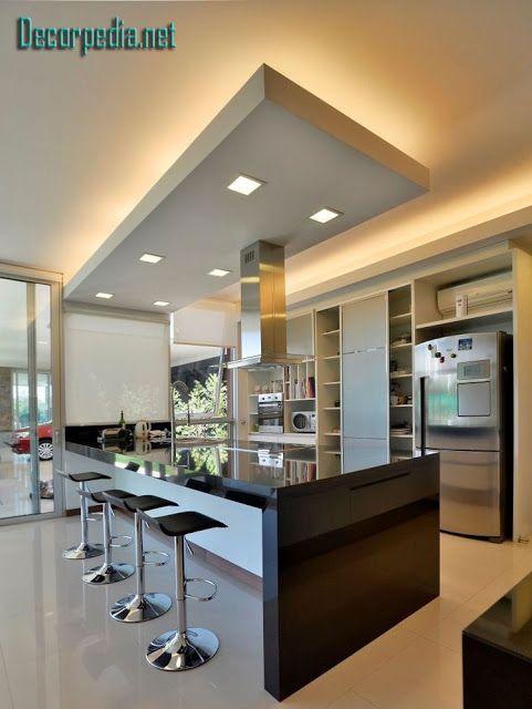 Kitchen Pop Design Pop False Ceiling Design For Kitchen With Led Lights Kitchen Inspiration Design Home Decor Kitchen Luxury Kitchen Design