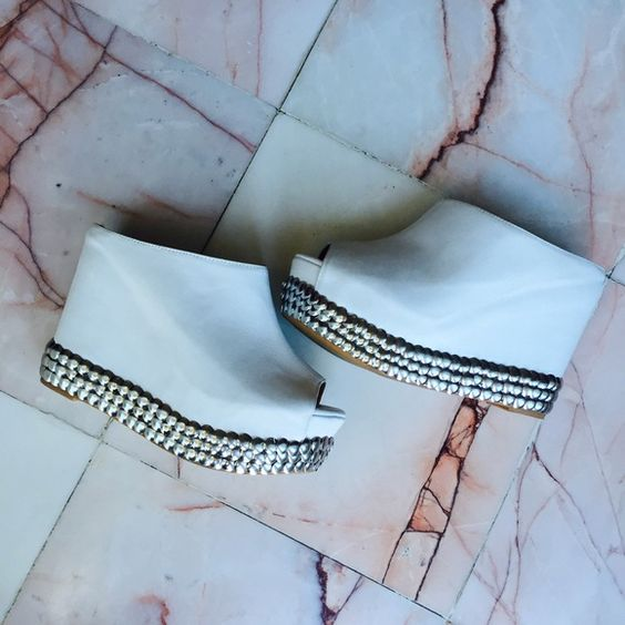 Jeffrey Campbell white Virgo wedge Super comfortable white is perfect for this spring and summer no studds are missing Jeffrey Campbell Shoes Wedges