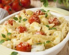 Gratin de pâtes fromage tomates