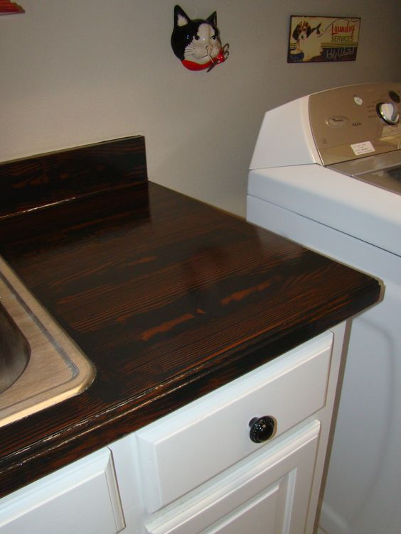 Painted My Ugly Blue Laminate Countertop To Look Like Wood