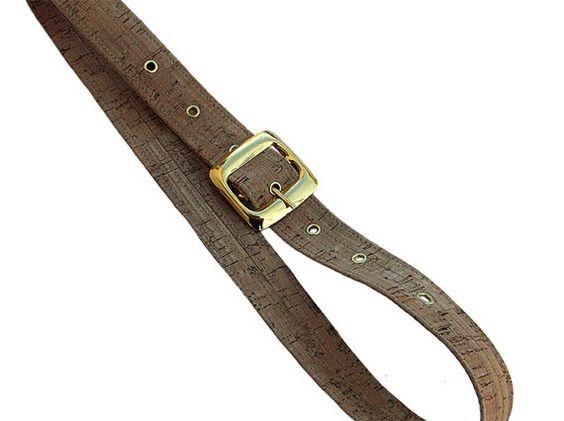 Women's Cork Belt Handmade Belt Gold Buckle Belt by CorkCraftsClay