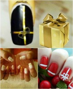 Present me with a Gift - 20 Fantastic DIY Christmas Nail Art Designs That Are Borderline Genius