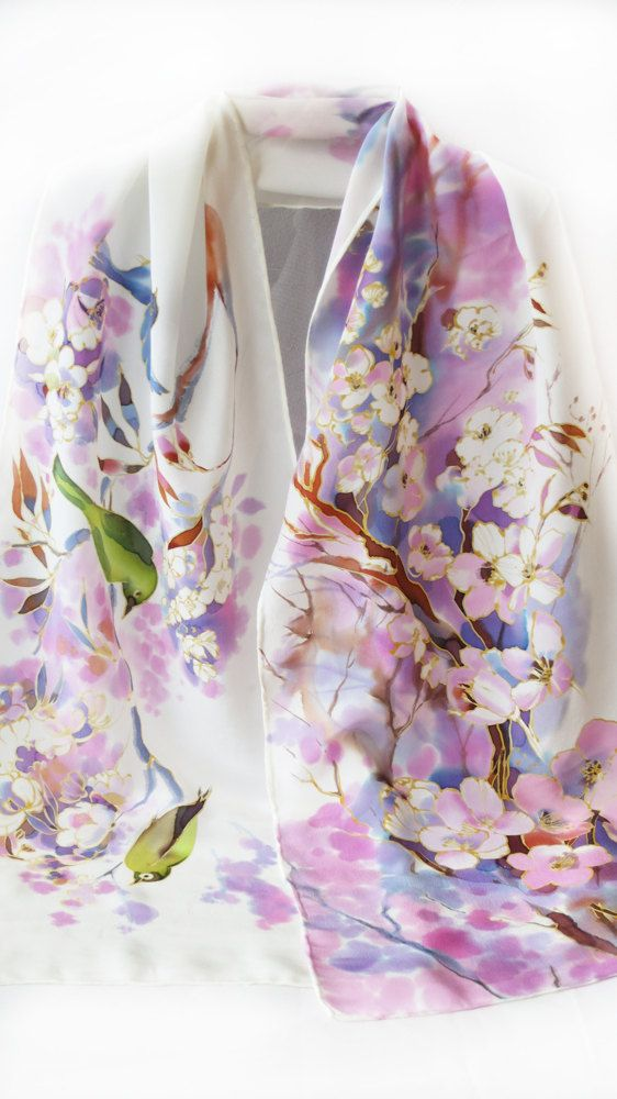 This Feminine Scarf Made Out Of 100 Silk Crepe De Chine With Hand Rolled Hems Crepe De Chine Is Sl Silk Scarf Painting Silk Painting Hand Painted Silk Scarf
