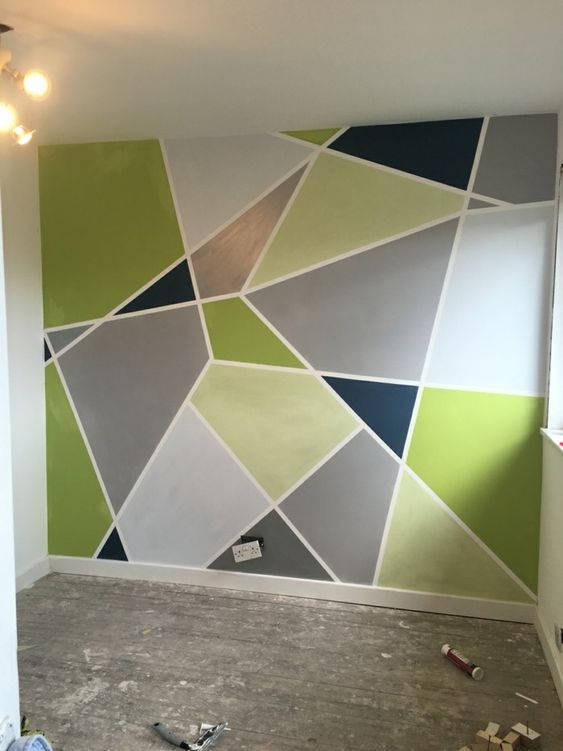 Geometric Wall Paint Design Ideas With Tape 2020 Trends Geometric Wall Paint Wall Paint Designs Diy Wall Painting