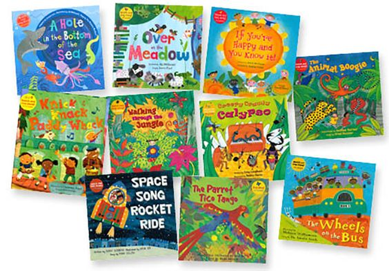 SING-ALONG FAVORITES SET OF 10 Colorful sing-along books and enhanced CDs with music and video animation of the songs.  Set of 10 Paperbacks & Enhanced CDs includes: A Hole in the Bottom of the Sea, Over in the Meadow, If You're Happy and You Know It, The Animal Boogie, Knick Knack Paddy Whack, Walking Through the Jungle, Creepy Crawly Calypso, Wheels on the Bus, Space Song Rocket Ride, Parrot Tico Tango. Paperbacks & CDs.