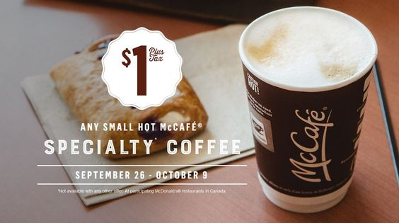 McDonald's Canada - Any Small McCafe Specialty Coffee Only $1 Sept 26 – Oct 9 - mccafe_buck http://www.groceryalerts.ca/mcdonalds-canada-small-mccafe-specialty-coffee-1-sept-26-oct-9/