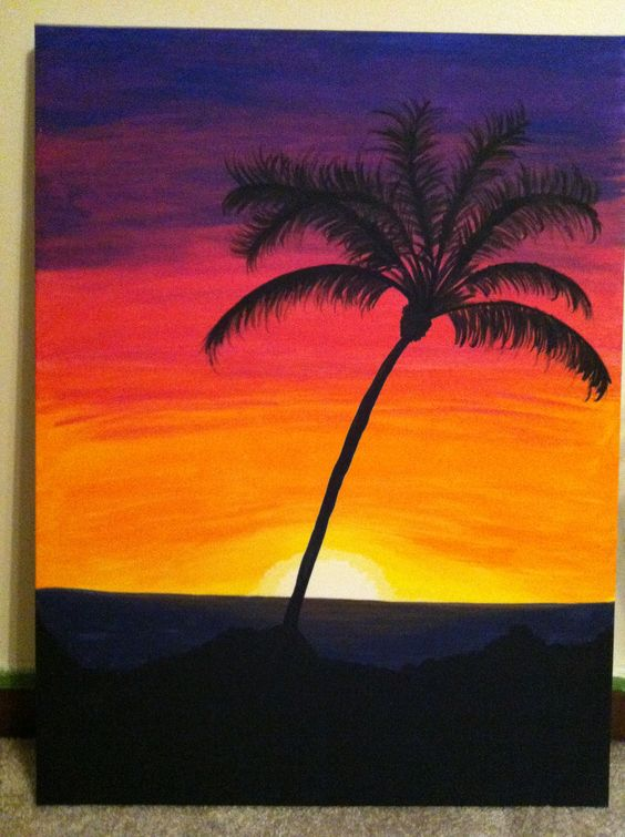 Sunset palm tree my paintings pinterest trees for Painting palm trees
