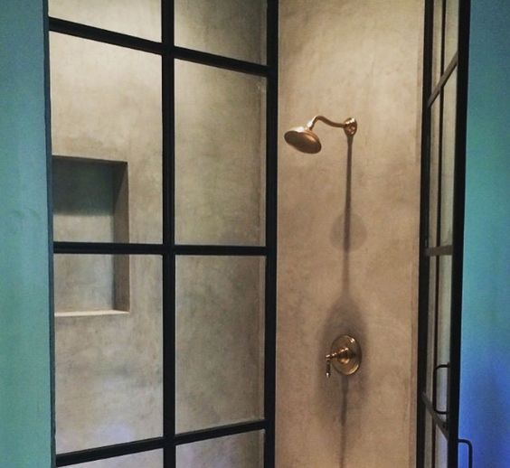 Lead pained doors for a shower
