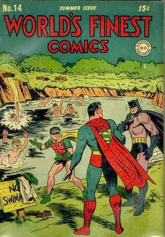 The one where Robin, Superman, and Batman decided they wanted to take a dip with the boys. | 23 Absurdly Lame Things That Happened To Superman, Batman, And Robin