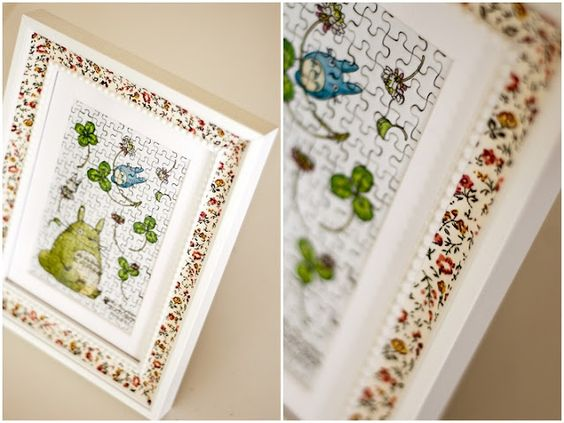 picture frame has been decorated with a floral cloth sticky tape