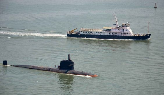 """The Indian Navy, French DCNS designed Scorpene class submarine """"Kalivari"""" in India, May 1, 2016."""