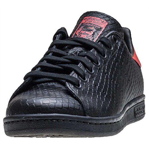 Estudiante principio Jugar con  adidas Stan Smith Unisex Trainers Black Red 4 UK *** Amazon most trusted  e-retailer #AdidasFashion | Adidas fashion, Adidas stan smith, All black  sneakers