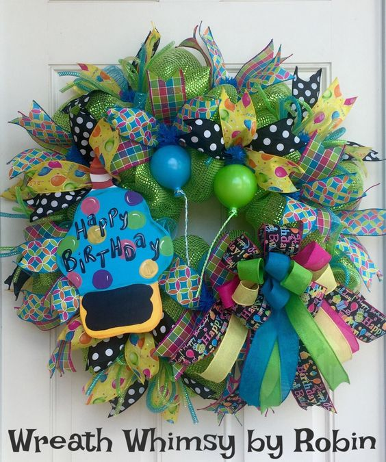 Happy Birthday Deco Mesh Wreath with Handpainted Chalkboard Cupcake, Birthday Decoration, Birthday Party, Celebration Wreath, Party Decor by WreathWhimsybyRobin on Etsy