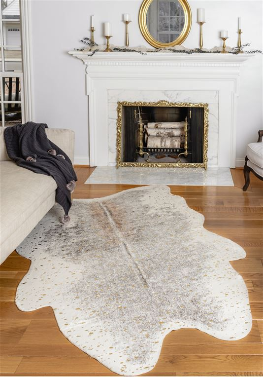Gold Metallic Faux Cowhide Rug 2 With Images Faux Cowhide