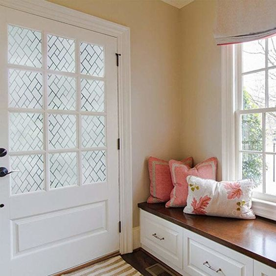 13. A decorative window film that'll give you privacy while still letting lots of natural light in — and just make your glass look expensive.