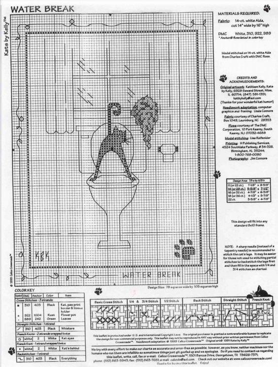Schema punto croce Gatto Nero Bagno2