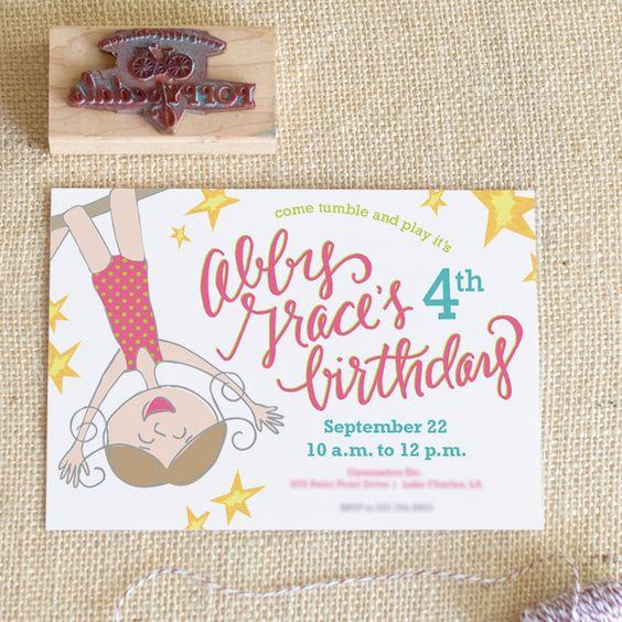 Flip Flop Gymnastics Birthday Party Invitation pink blue green – Gymnastics Party Invitation