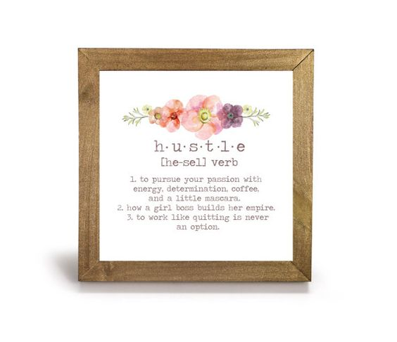 Hustle Definition Office Print and Frame by CubeAppeal on Etsy