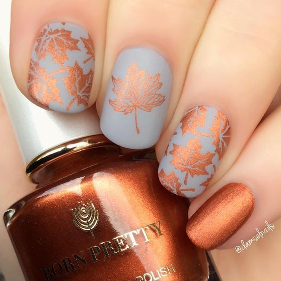 60 Must Try Nail Designs This Autumn Fall Flowers Nail Design Fall Nails Fall Nail Art Pumpkin Na Thanksgiving Nail Art Fall Nail Art Glitter Gradient Nails