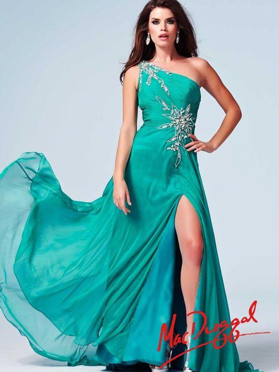 One Shoulder Teal Prom Dress