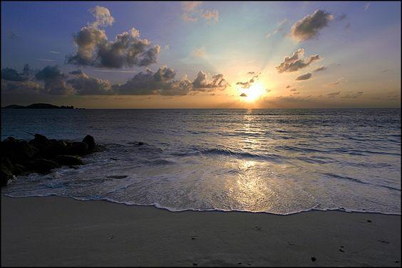sunset, beach, Seychelles