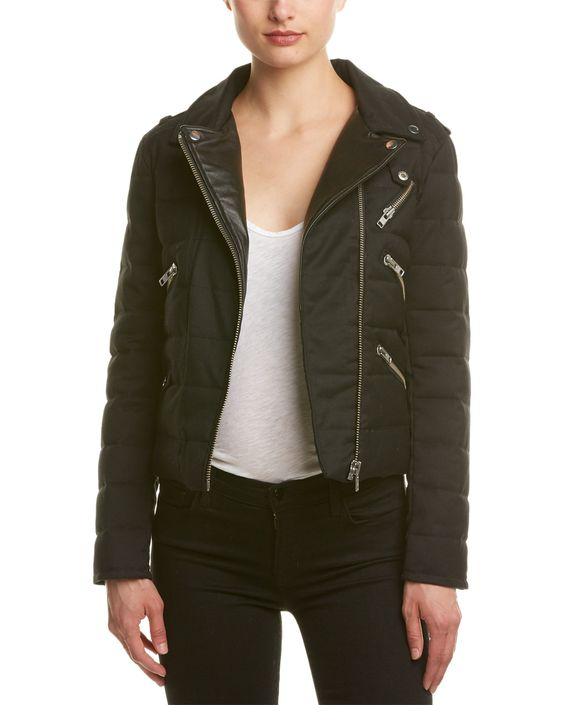Spotted this The Kooples Leather-Trim Wool-Blend Biker Down Jacket on Rue La La. Shop (quickly!).