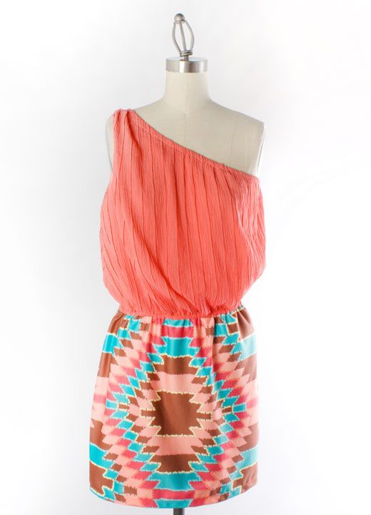 Judith March :) Coral One Shoulder Dress with Ponte Aztec Sunrays Skirt