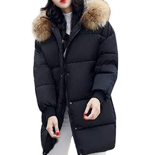 Winter Womens Warm Hooded Down Long Jacket Thicken Cotton Padded Coat Fur Collar