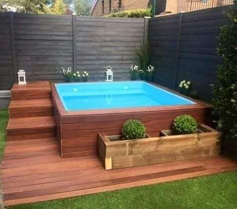 Above Ground Pool With Decking Hot Tub Backyard Small Backyard Pools Small Pool Design