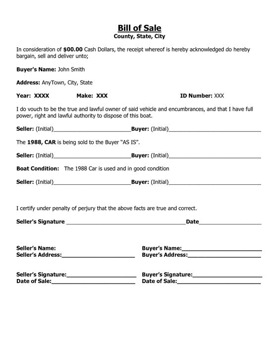 Printable Sample Car Bill of Sale Form Basic Legal Document - boat bill of sale