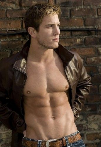 Leather Jacket No Shirt MdK00M