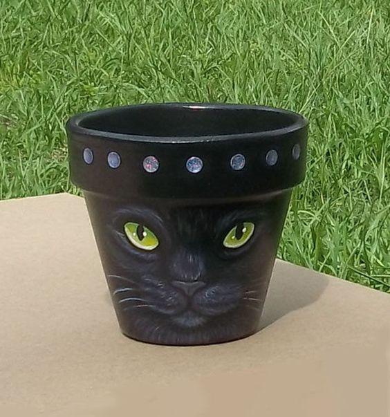 original hand painted black cat halloween witch pet folk art terra cotta pot