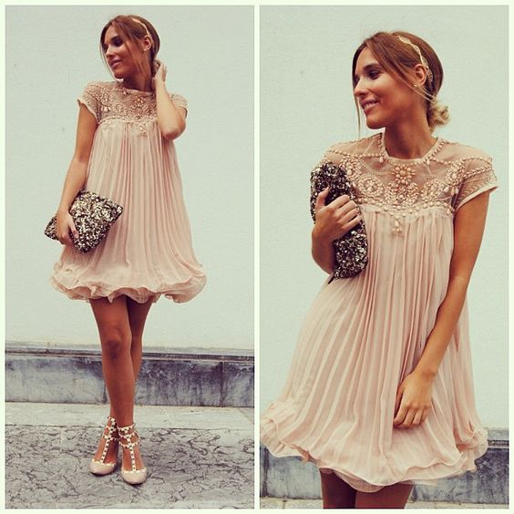 Beads Embellished Pleated Dolly Dress in Nude Pink - New Arrivals - Retro, Indie and Unique Fashion