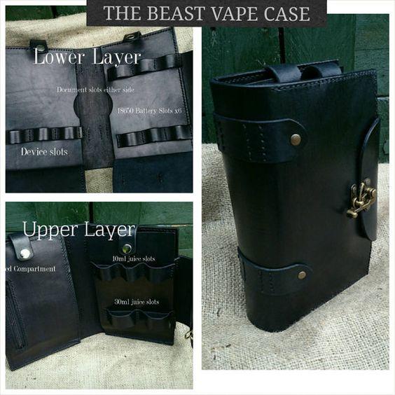 The Beast - as featured in Vape Magazine USA. EXTRA LARGE leather handmade bespoke electronic cigarette vape case. Massive range of colours.