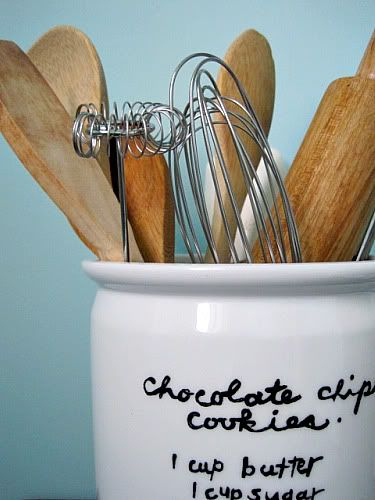 Paint your favorite (and most-used) recipe onto a utensil crock