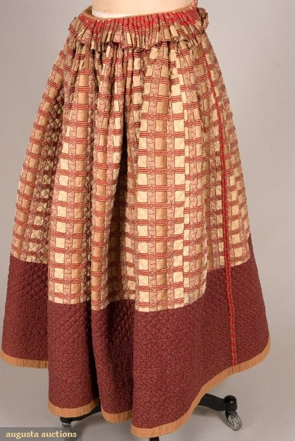 Turkey Red Quilted Petticoat - French c. 1840 Inside out. Notice the turned over waist