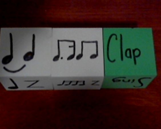 Blank foam blocks for less than 2 bucks each.  Each white block is worth two beats in 4/4 time and the green has different actions--clap, pat, snap, click, sing, wild.