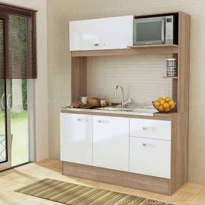 Cozinha Compacta 4 Portas e 1 Gaveta Avenu Sem Tampo Teka/Branco - Casabras