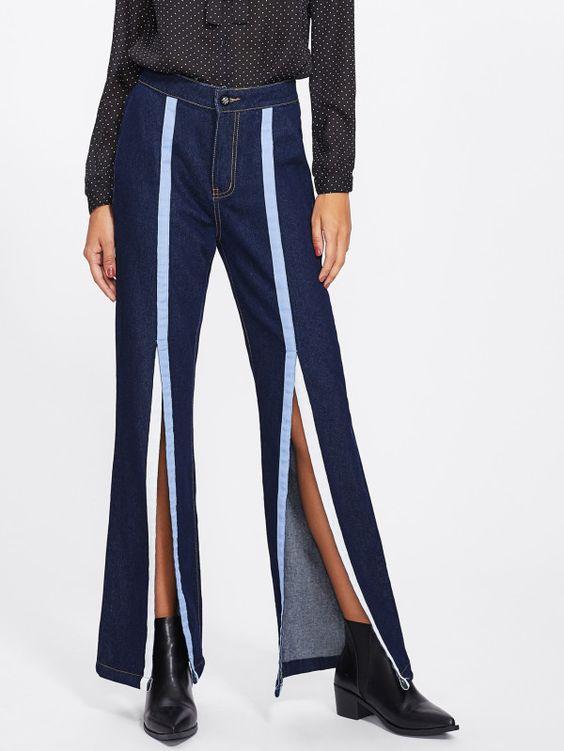 Ribbon Detail Slit Front Flare Hem Jeans -SheIn(Sheinside)