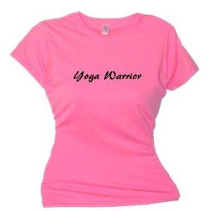 Flirty Diva Tees Woman's SoftStyle T-Shirt-Yoga Warrior-Pink Azalea-Black (Apparel)