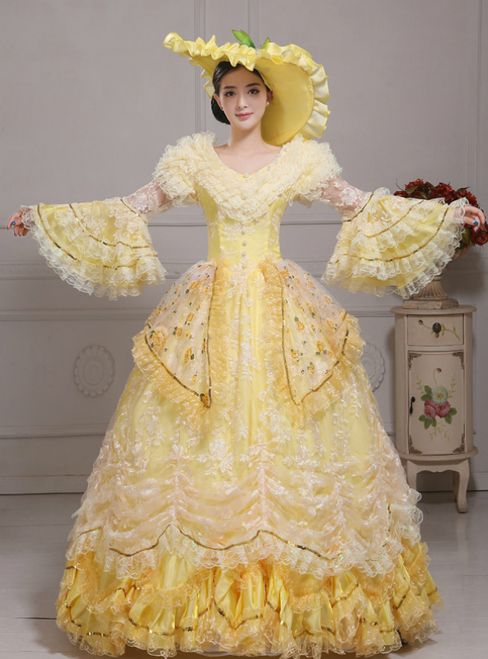 Yellow Ball Gown Lace Puff Sleeve Drama Show Vintage Gown Dress