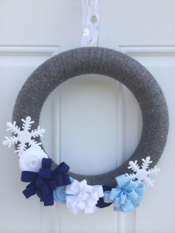 SALE! Winter yarn wreath, winter wreath, snowflake wreath by JoiedeVivreCrafts on Etsy https://www.etsy.com/listing/207740513/sale-winter-yarn-wreath-winter-wreath