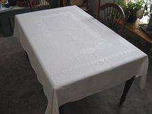 Classic White Damask Tablecloth for a Special Occasion