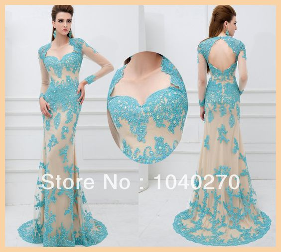 Long Sleeve Appliques Beading Lace See Through Mermaid Long Evening Dress Prom Dress P41101-in Evening Dresses from Apparel & Accessories on...
