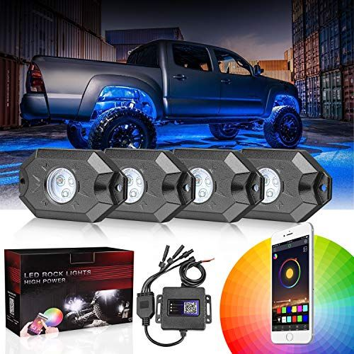 Dji 4x4 Rgb Led Rock Light Kits With Bluetooth Control Waterproof Multicolor Neon Led Lights Underglow Trail Rig Lights For Led Rock Light Trucks Offroad Jeep