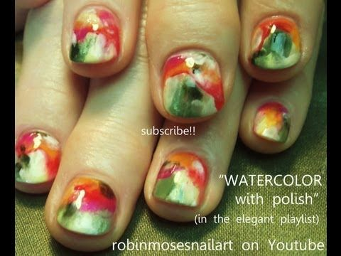 rainbow watercolor nail art robin moses design tutorial 736