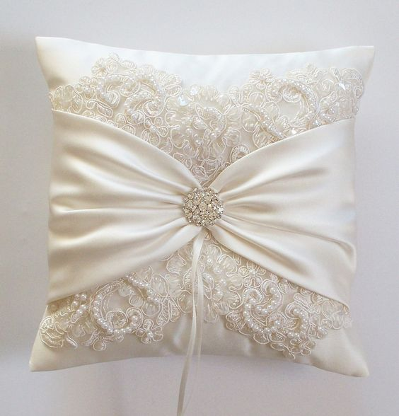 Wedding Ring Pillow with Beaded Alencon Lace, Ivory Satin Sash Cinched by Crystals - The MIRANDA Pillow.