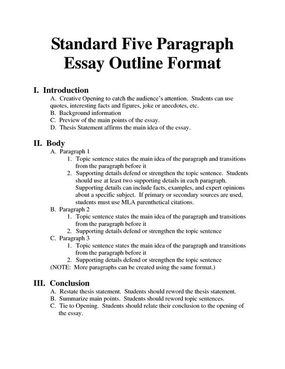 essay sentence outline format Thesis statement guide: sample outline use the outline below, which is based on the five–paragraph essay model, when drafting a plan for your own essay this is meant as a guide only, so we encourage you to revise it in a way that works best for you.