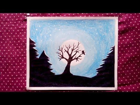 Night Scenery Drawing For Beginners With Oil Pastels Step By Step Ricette Pesce In 2020 Oil Pastel Night Scenery Drawing For Beginners